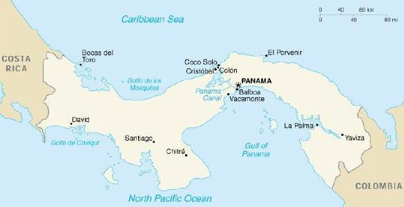 mapa canal de Panamá