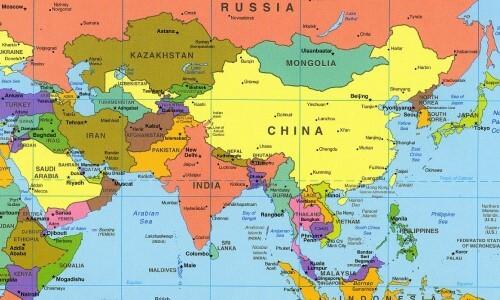 mapa continente asia