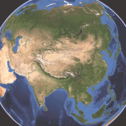 imagen satelital continente Asia