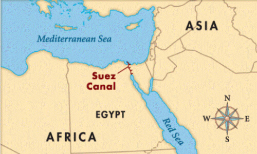mapa canal de suez