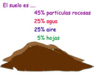 ¿Cuáles son los tres componentes del suelo?